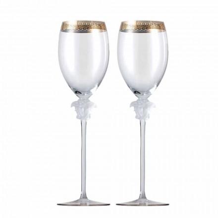 Rosenthal Versace Medusa D'Or 4 verres de vin blanc en cristal