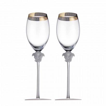 Rosenthal Versace Medusa D'Or 4 verres à vin rouge en cristal
