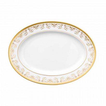 Rosenthal Versace Medusa Gala Or Plaque ovale design en porcelaine de 34cm