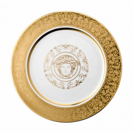 Rosenthal Versace Medusa Gala Plaque dorée en porcelaine 30cm