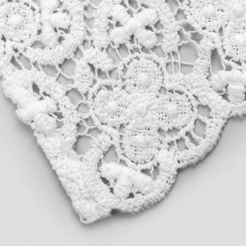 Chemin de table 100% lin avec dentelle blanche de luxe Made in Italy - Triumph