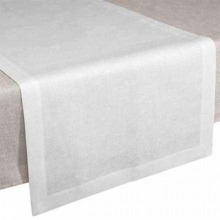 Chemin de table en lin blanc crème 50x150 cm Made in Italy - Poppy