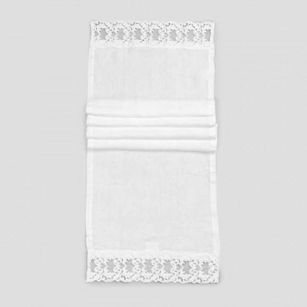 Chemin de table en lin avec dentelle blanche, qualité de luxe italienne - Farnese