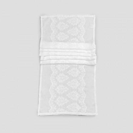 Chemin de table 100% lin avec broderie de design de luxe - Giuggiolo