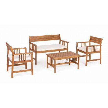 Lounge 4 compléments en bois de jardin design en bois d'acacia - Roxen