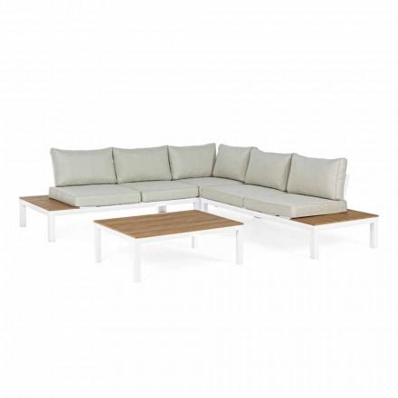 Salon extérieur avec canapé d'angle et table basse en aluminium et tissu - Verve