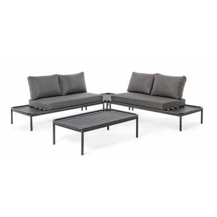 Salon extérieur moderne en aluminium et anthracite Homemotion - Palmira