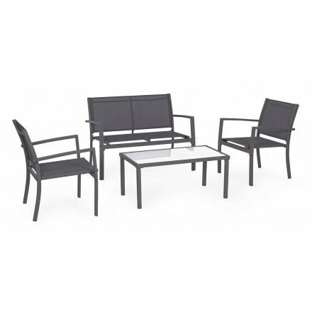 Salon de jardin en acier et textilène, canapé, fauteuils et table basse - Osseo