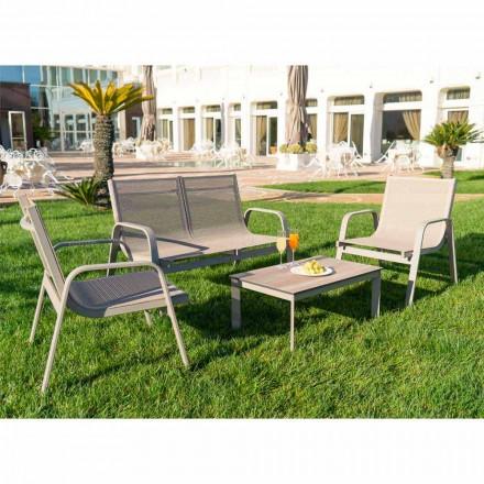 Salon de jardin en aluminium, toile et HPL précieux Made in Italy - Atollo