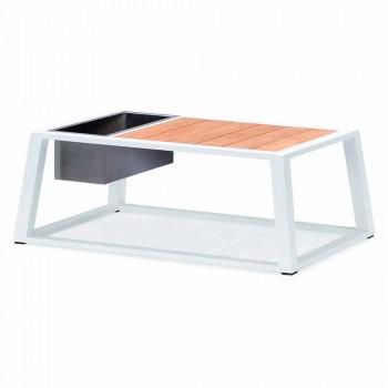 Canapé 3 places, 2 fauteuils et table basse en aluminium et teck - Hatice
