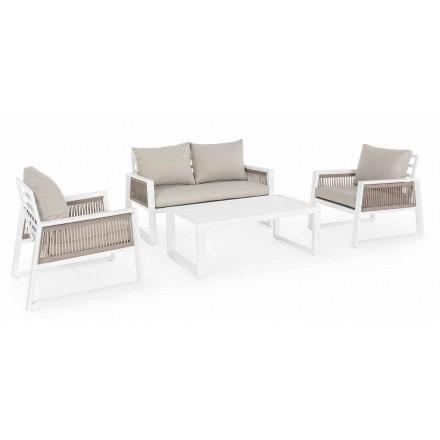 Salon de jardin en aluminium design blanc ou noir - douche de pluie