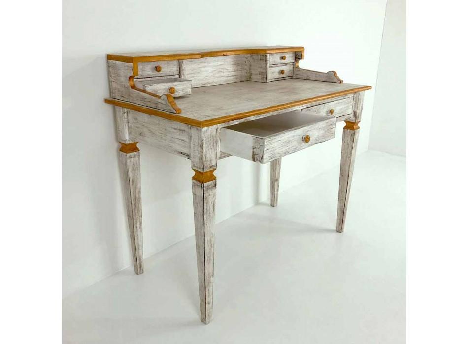 Bureau d'écriture fait main en bois massif avec 4 tiroirs Made in Italy - Amela