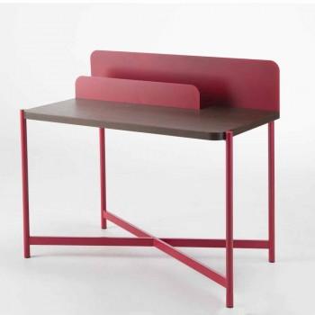 Bureau moderne en métal coloré et bois de chêne de design italien - Nadin