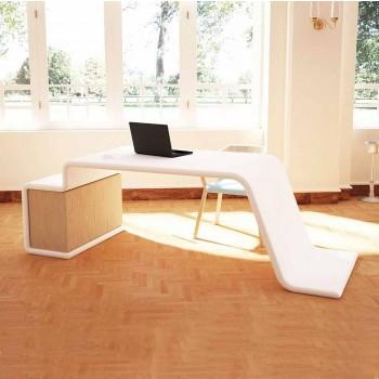 Bureau avec commode en bois fabriqué en Italie, Terralba