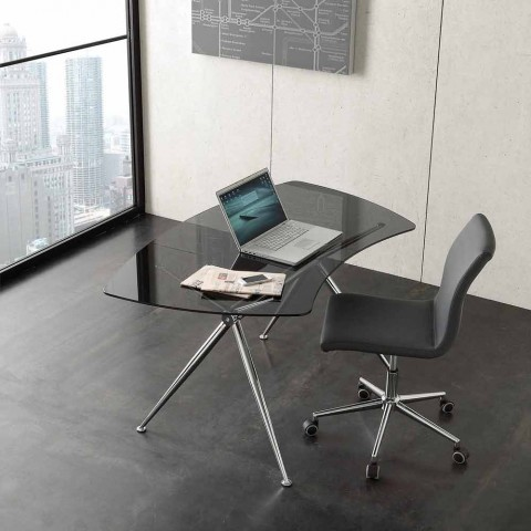 Bureau en cristal avec structure chromée Made in Italy - Xenon