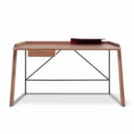 Bureau design en métal avec plateau en bois Made in Italy - Bonaldo Scriba