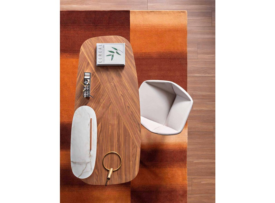 Bureau moderne en bois, métal et céramique Made in Italy - Bonaldo Gauss
