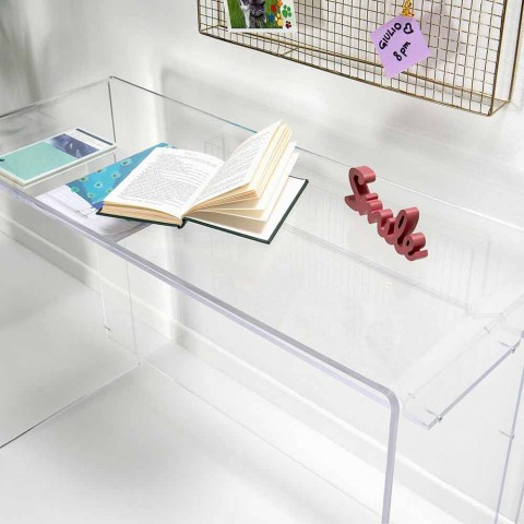 Bureau moderne en plexiglas transparent fabriqué en Italie, Barga