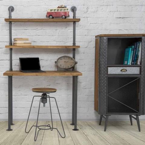 Bureau avec étagères design moderne en fer et bois - Aubry