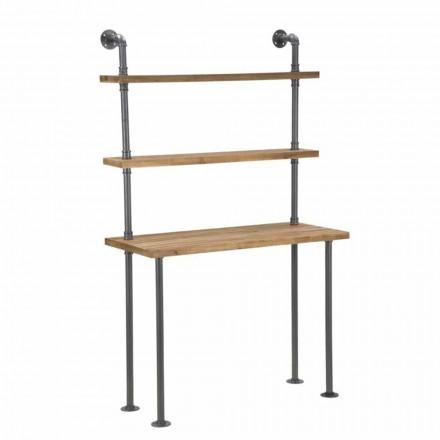 Bureau avec étagères design industriel en fer et bois - Aubry
