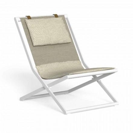 Chaise longue de jardin en aluminium et tissu avec coussins - Riviera by Talenti
