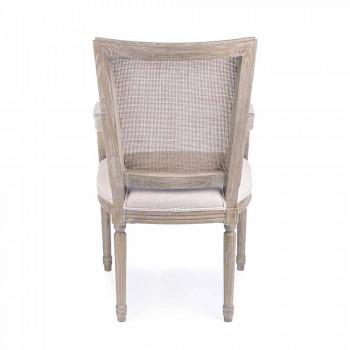 Chaise classique avec accoudoirs en bois de frêne et tissu Homemotion - Meringue