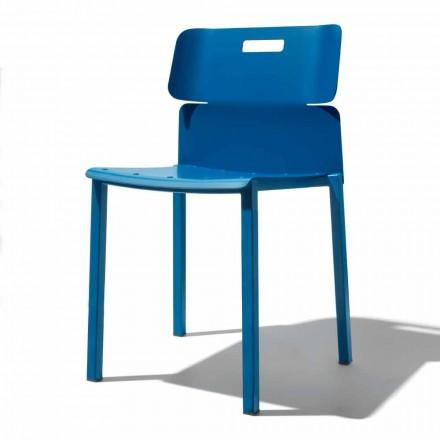 Chaise empilable colorée pour l'extérieur en aluminium Made in Italy - Dobla