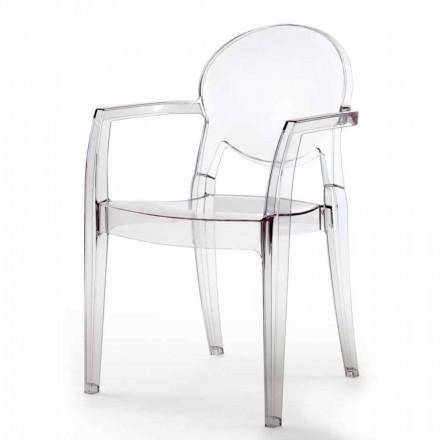 Chaise avec Accoudoirs, Design Moderne en Polycarbonate – Dalila