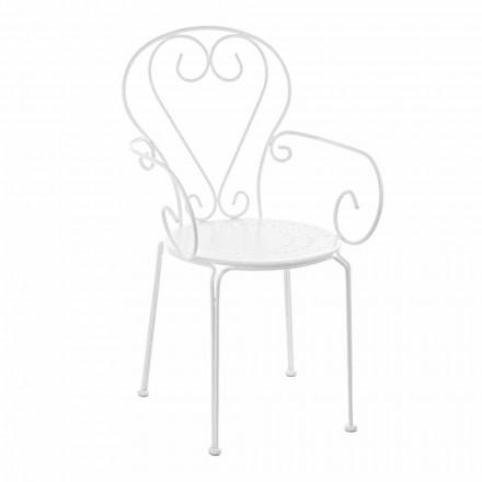 Chaise de jardin avec accoudoirs Shabby Chic Design en acier - Charm