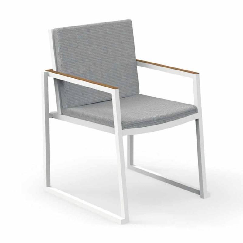 Chaise de jardin avec accoudoirs en aluminium et tissu - Alabama Alu by Talenti