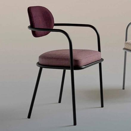 Chaise design vintage avec accoudoirs en acier et tissu coloré - Ula