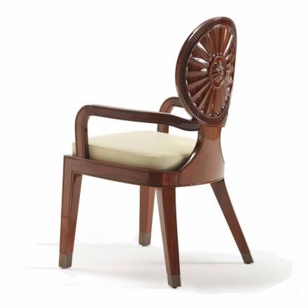 Chaise avec accoudoirs remborrée en bois lisse, Nicole design de luxe