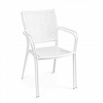 Chaise de jardin empilable avec accoudoirs en acier décoré - Chausson