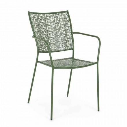 Chaise de jardin avec accoudoirs empilable en acier décoré - Chausson