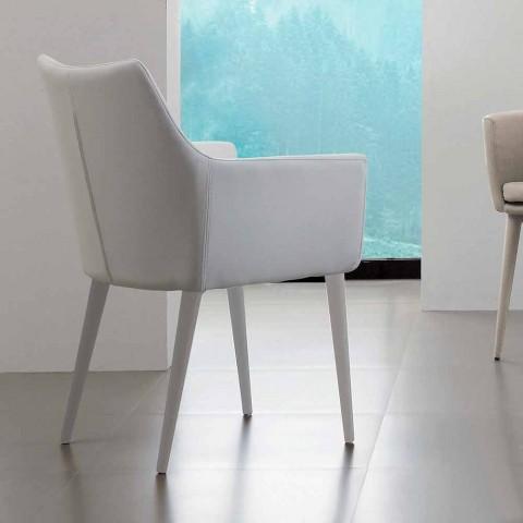 Chaise avec accoudoirs en métal recouvert de cuir imitation Carlina