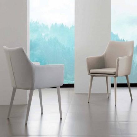 Chaise avec accoudoirs Carlina, en cuir écologique et métal
