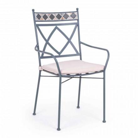 Chaise de jardin empilable en acier avec ou sans accoudoirs - Letizia