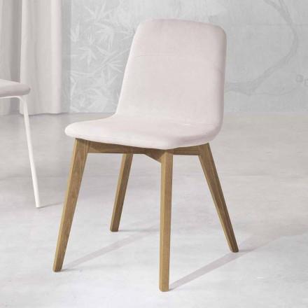 Chaise de cuisine design en bois et tissu made in Italy, Egizia