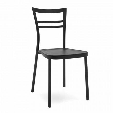 Chaise de cuisine design moderne en polypropylène et métal Made in Italy, 2 pièces - Aller