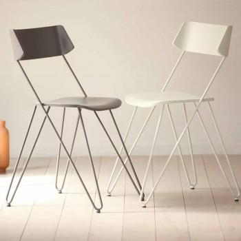Chaise de cuisine artisanale en bois et acier précieux Made in Italy - Granada