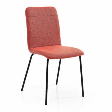 Chaise de cuisine en tissu coloré et métal design moderne 4 pièces - Hermione