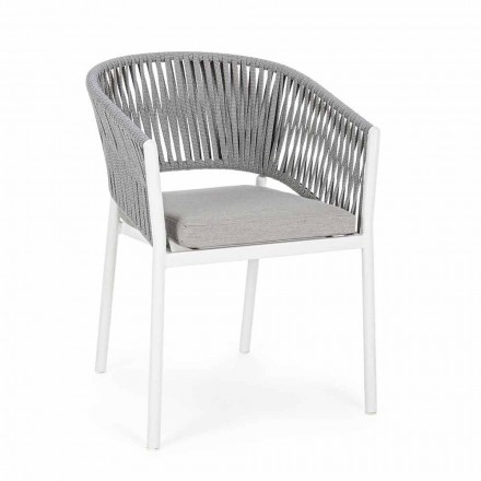 Chaise d'extérieur avec accoudoirs en aluminium blanc et gris Homemotion - Rubio