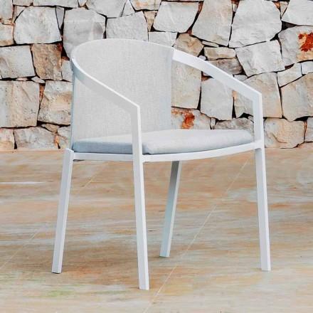Chaise d'extérieur en aluminium avec ou sans coussin, haute qualité, 4 pièces - Filomena