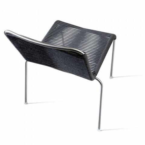 Chaise design d'extérieur en acier et cordon noir Made in Italy - Madagascar1