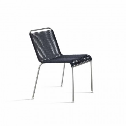 Chaise d'extérieur design en acier et corde Made in Italy - Madagascar1