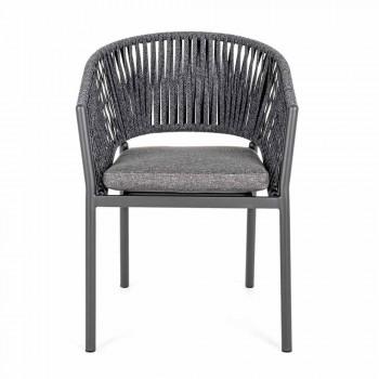 Chaise d'extérieur empilable avec siège en tissu Homemotion, 4 pièces - Aleandro