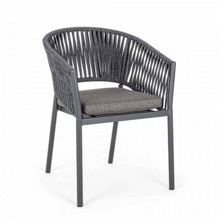 Chaise d'extérieur empilable avec assise en tissu, Homemotion 4 pièces - Aleandro