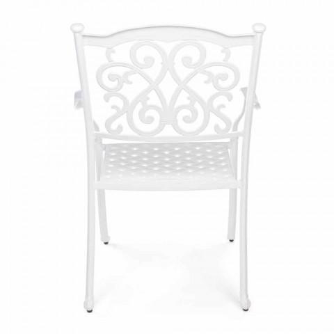 Chaise d'extérieur empilable en aluminium blanc ou anthracite, 4 pièces - Ode