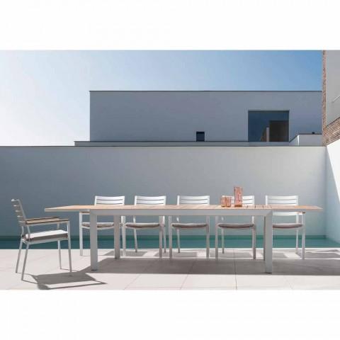 Chaise d'extérieur empilable en aluminium avec coussin d'assise, 4 pièces - Nasha