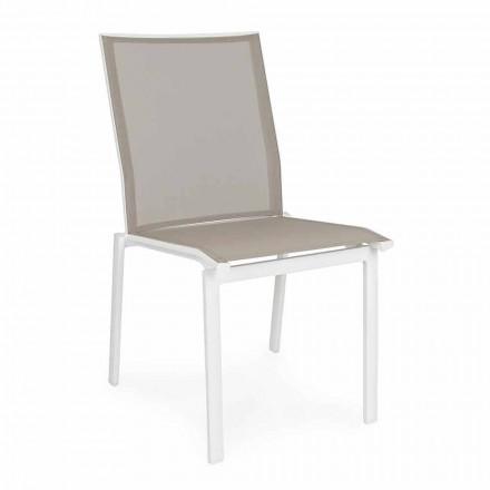 Chaise d'extérieur empilable en aluminium et textilène, Homemotion 4 pièces - Serge